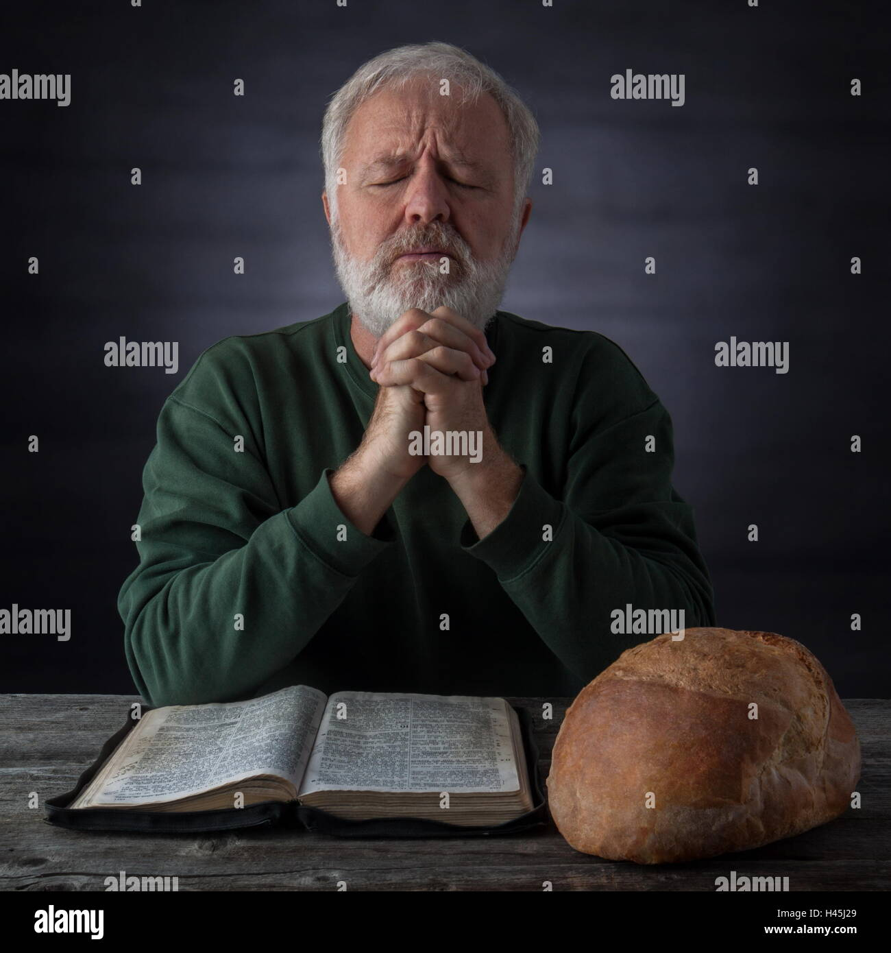 Portrait Old Man Reading Holy Stock Photos Portrait Old Man