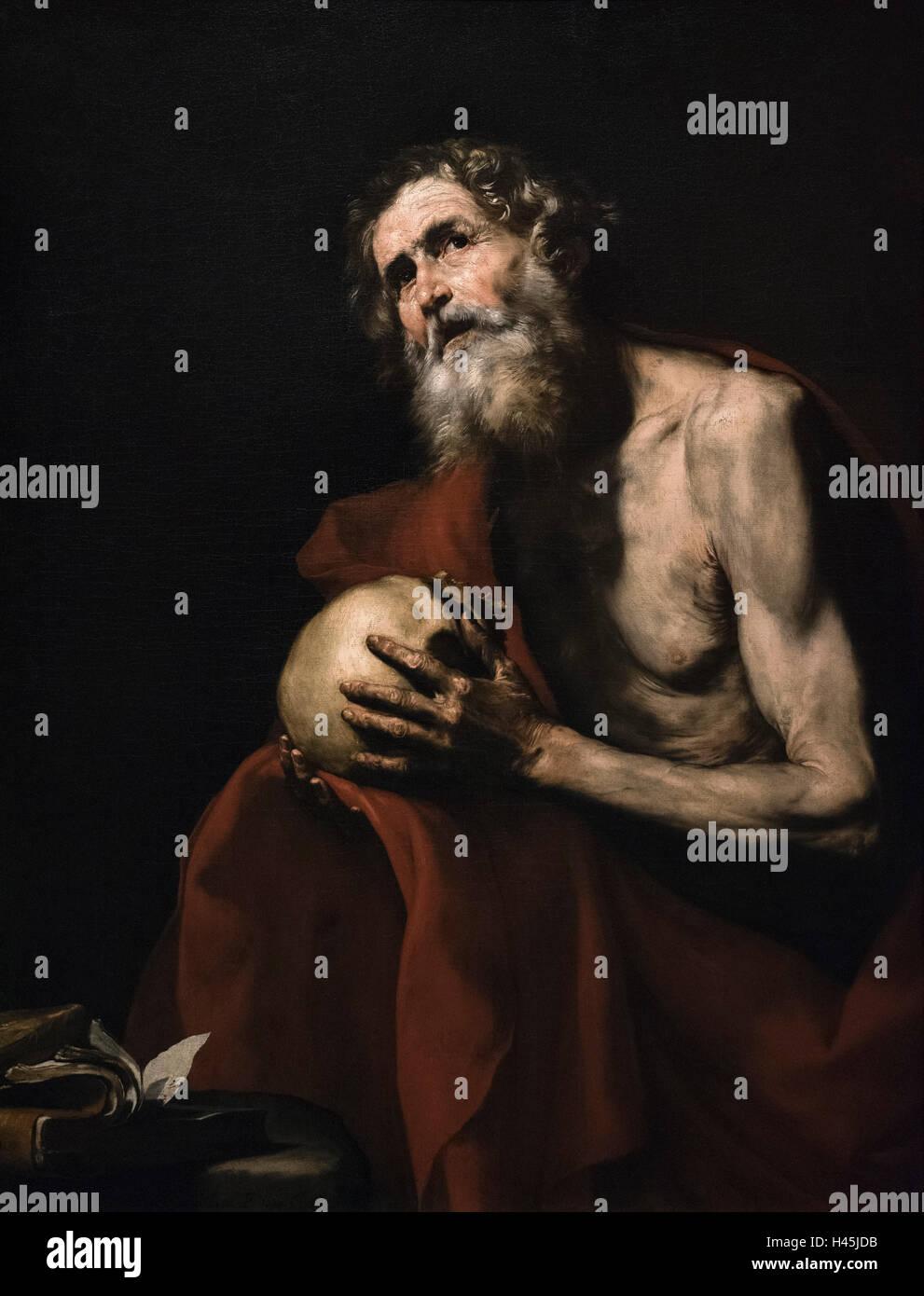 Jusepe de Ribera (1591-1652), The Penitent Saint Jerome, 1634. - Stock Image