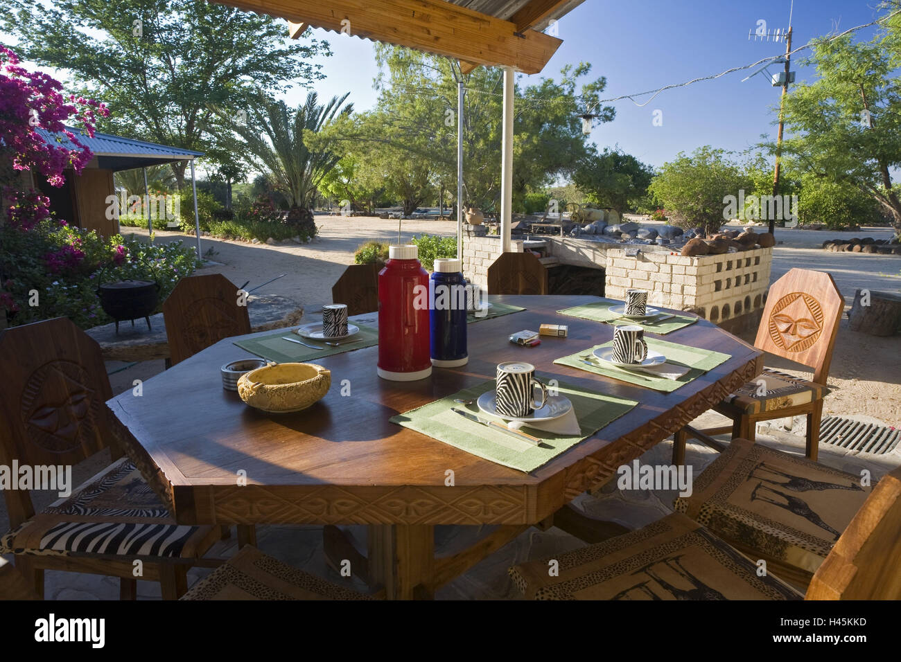 Africa, Namibia, Omaruru, farm, veranda, breakfast table, - Stock Image