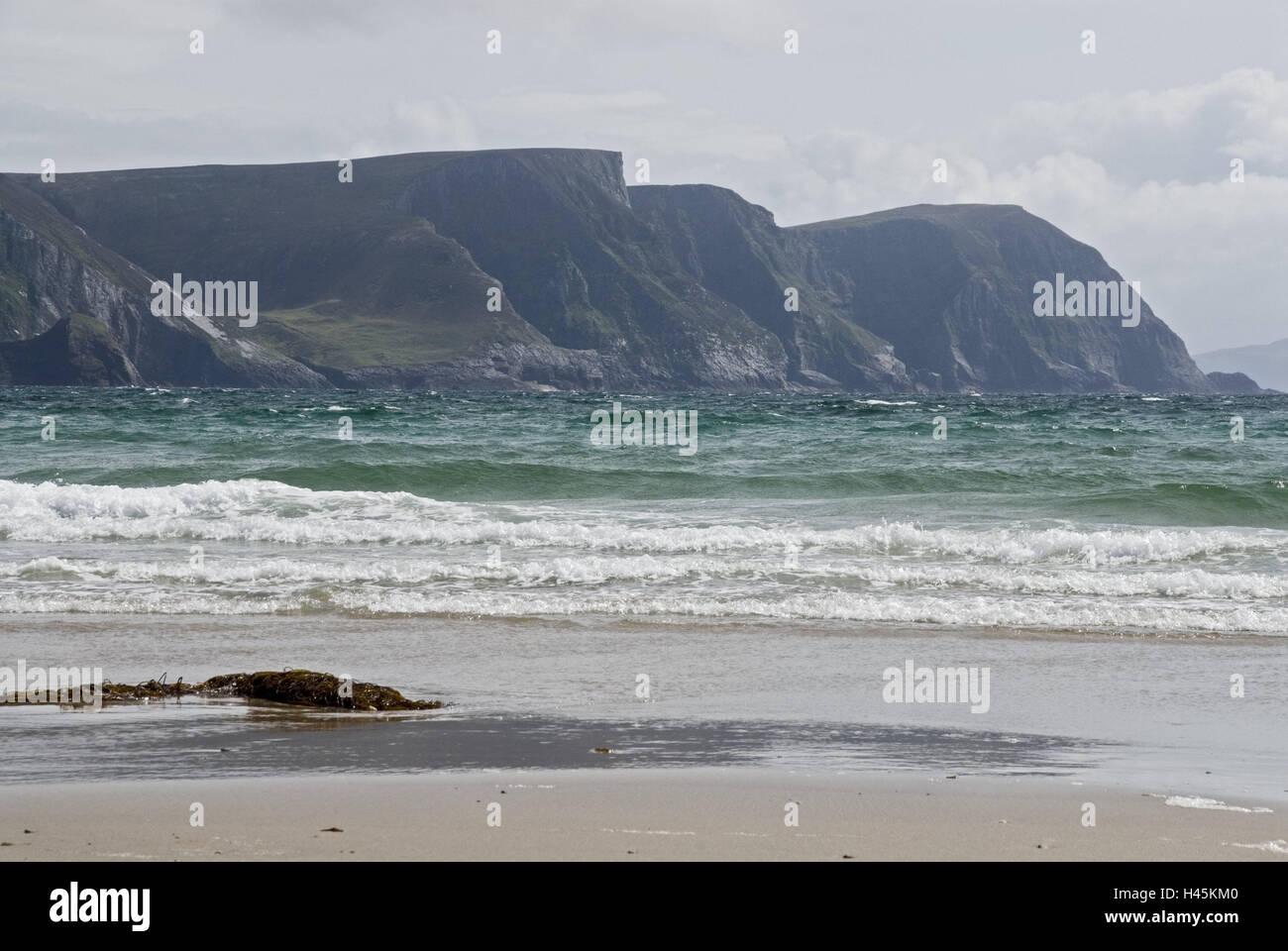 Ireland, Achilles Iceland, Keel, beach, sea, cliffs, Connacht, steep coast, coast, sea bay, waters, heaven, cloudies, - Stock Image