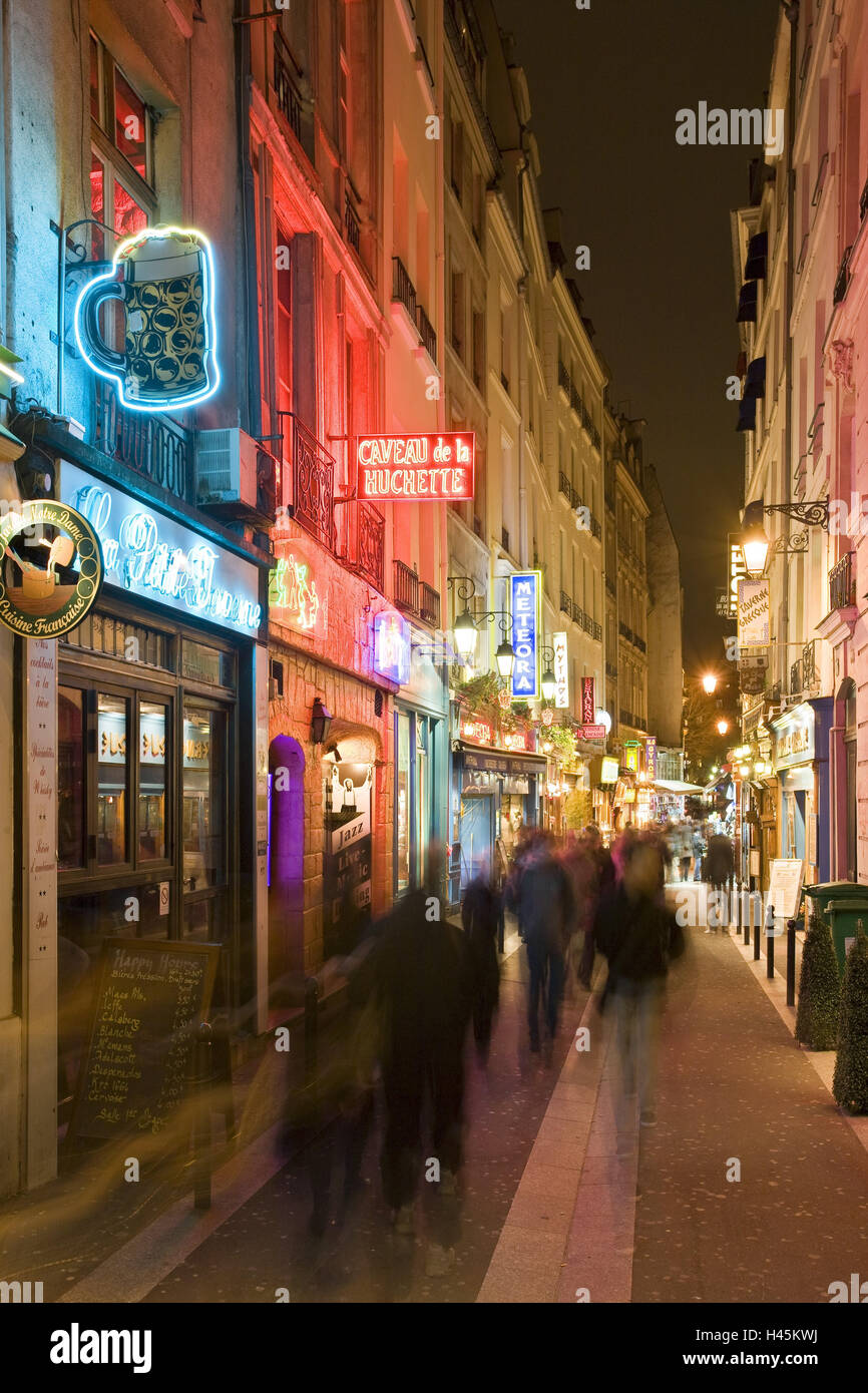 France, Paris, accommodation Latin, lane, neon lights, evening, - Stock Image