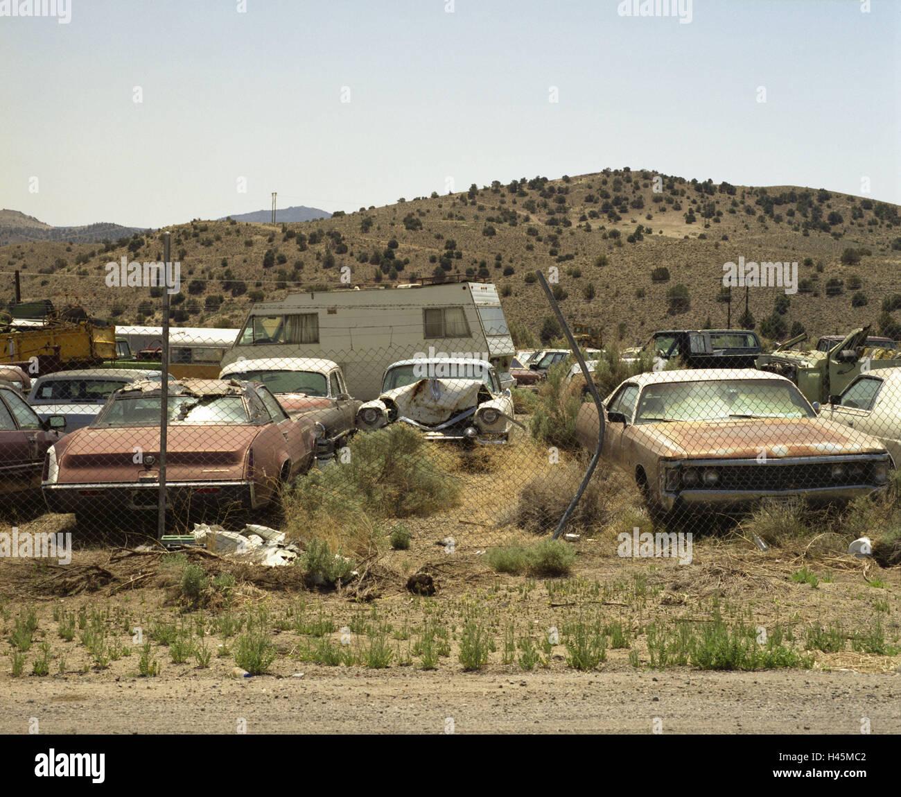 USA, Nevada, Carson City, Junkyard, Desert, Cars