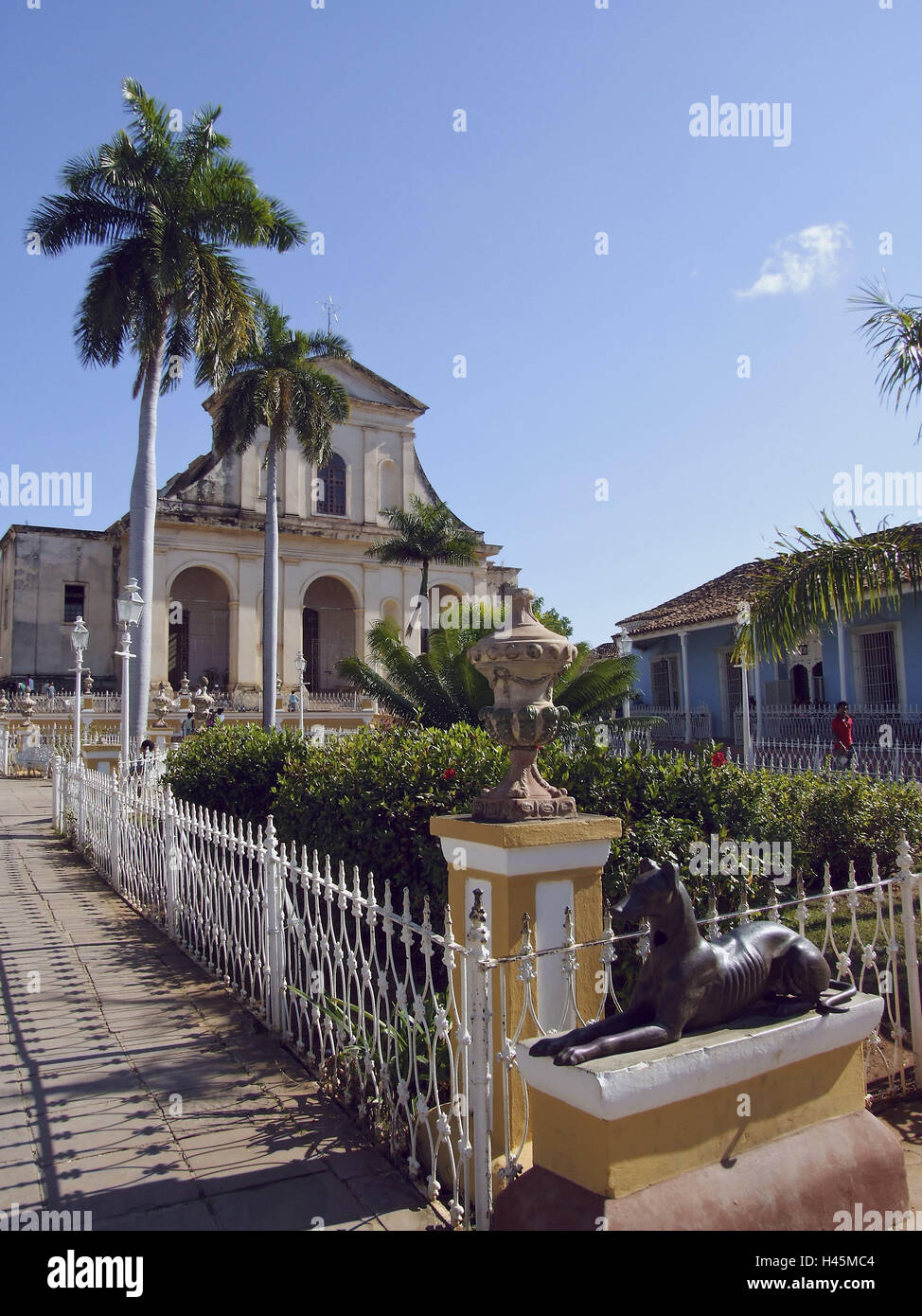 Plaza Mayor, Church, Iglesia Parroquial de, la Santisima Trinidad, Trinidad, Cuba, holiday destination, destination, - Stock Image