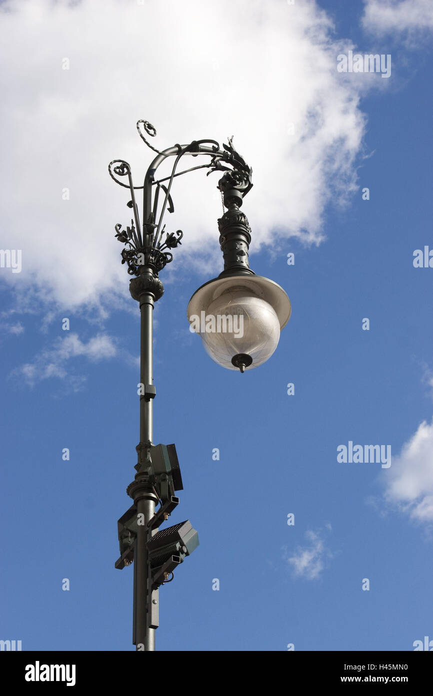Street lamp, from below, cloudy sky, - Stock Image