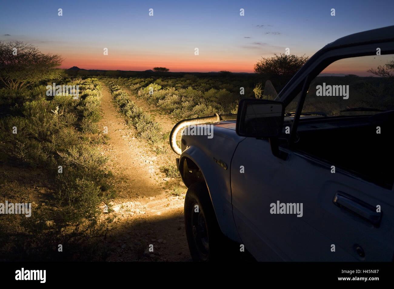 Africa, Namibia, Omaruru, savanna, offroad tour, jeep, evening, - Stock Image