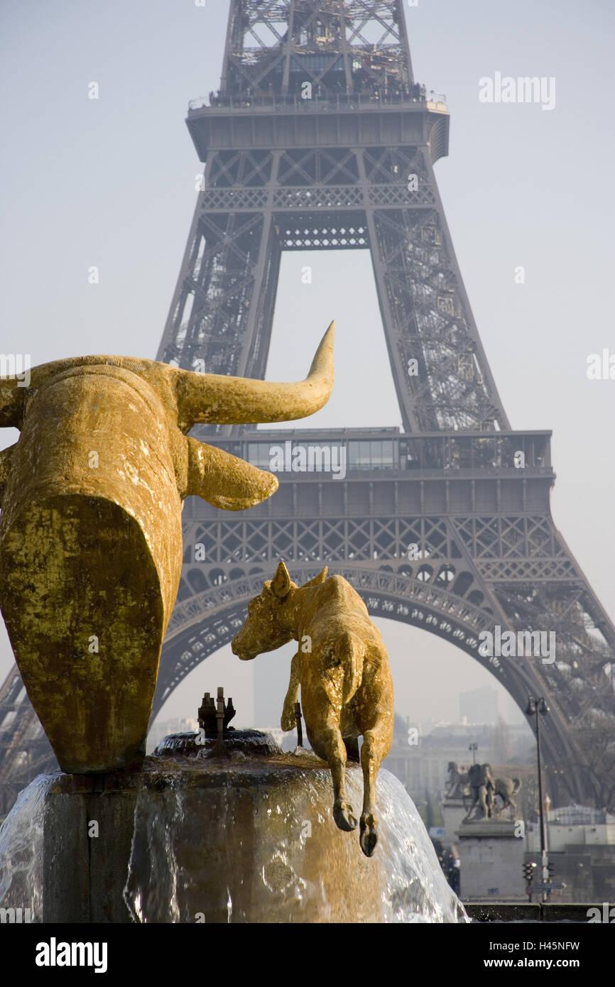 Trocadero Les Jardins Well Taureau Et Daim Eiffel Tower Paris