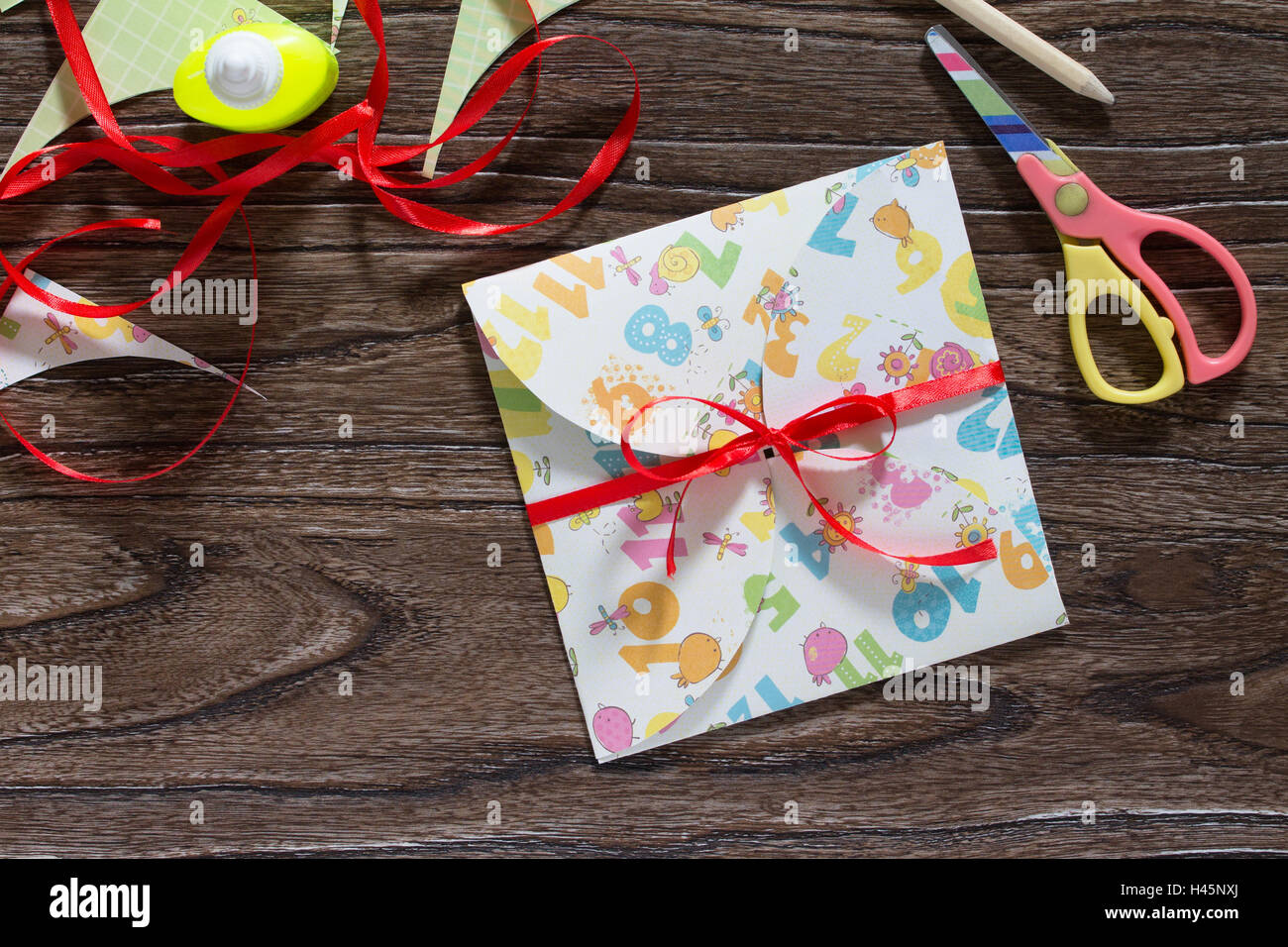 Birthday Card Handmade Sheets Of Paper Glue Scissors And Tape On A Wooden Table Childrens Art Project Craft For Children