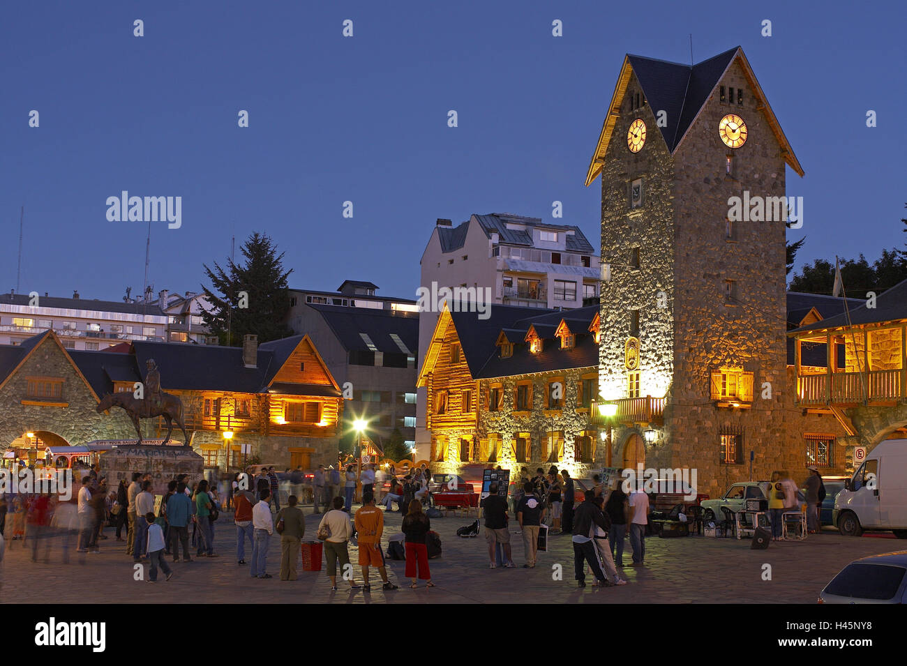 Argentina, Patagonia, San Carlos de Bariloche, town hall, tower, lighting, town hall square, pedestrians, evening, - Stock Image