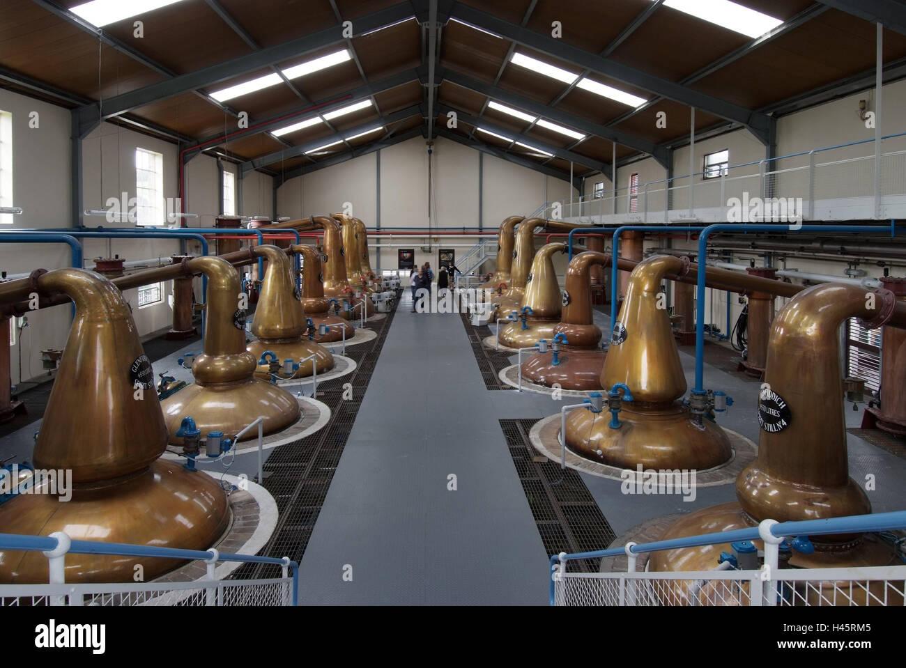 Great Britain, Scotland, Grampian highlands, Dufftown, Whisky-Destille Glenfiddich, hall, Destillierbehälter, - Stock Image