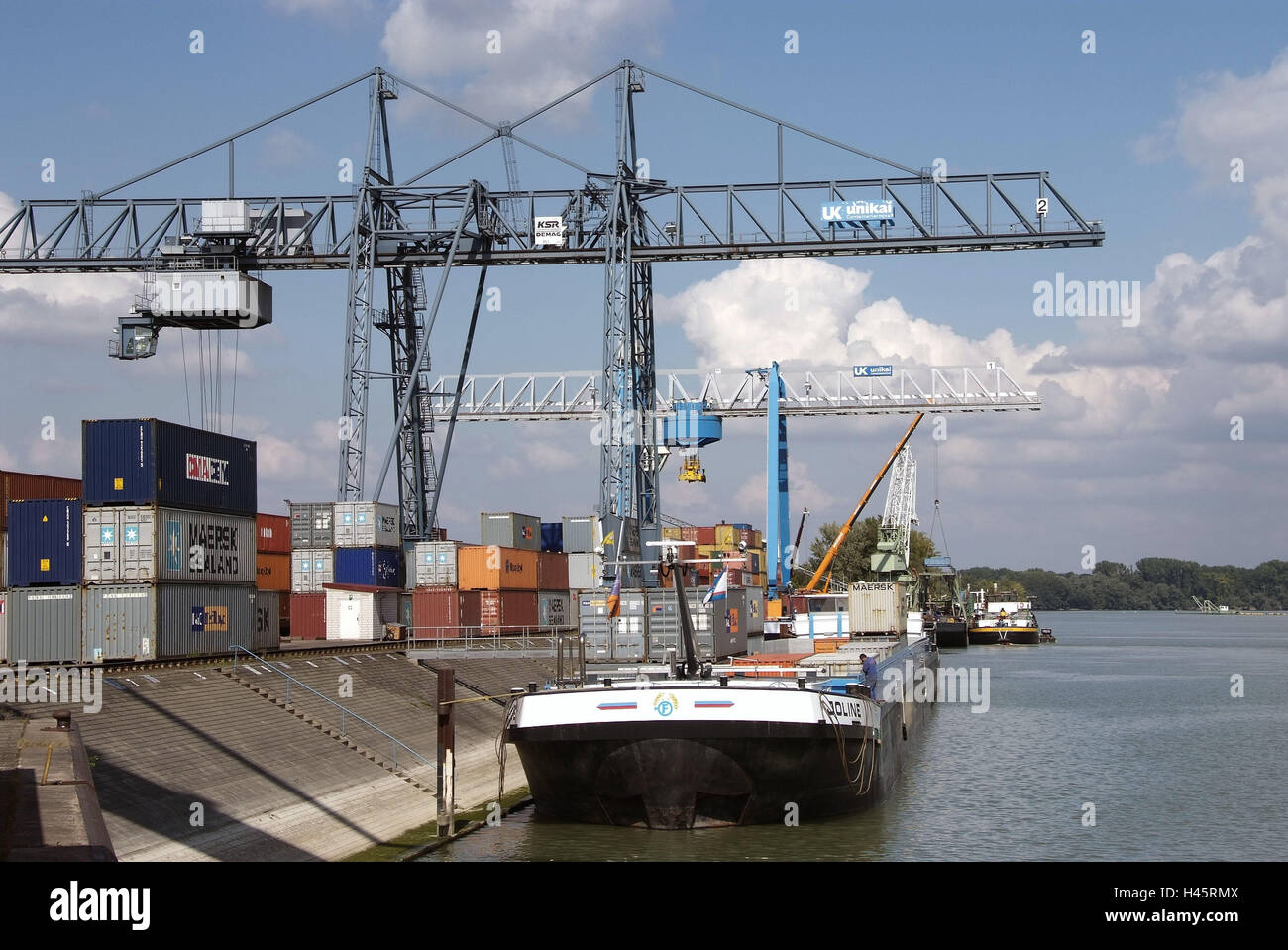 Inland harbour, navigation, the Rhine, - Stock Image