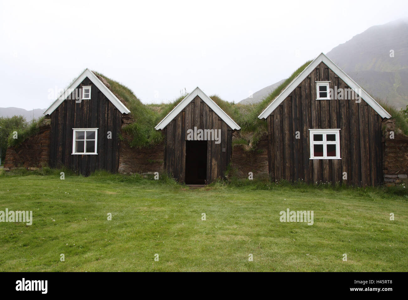 sod houses, Holar, Iceland, - Stock Image