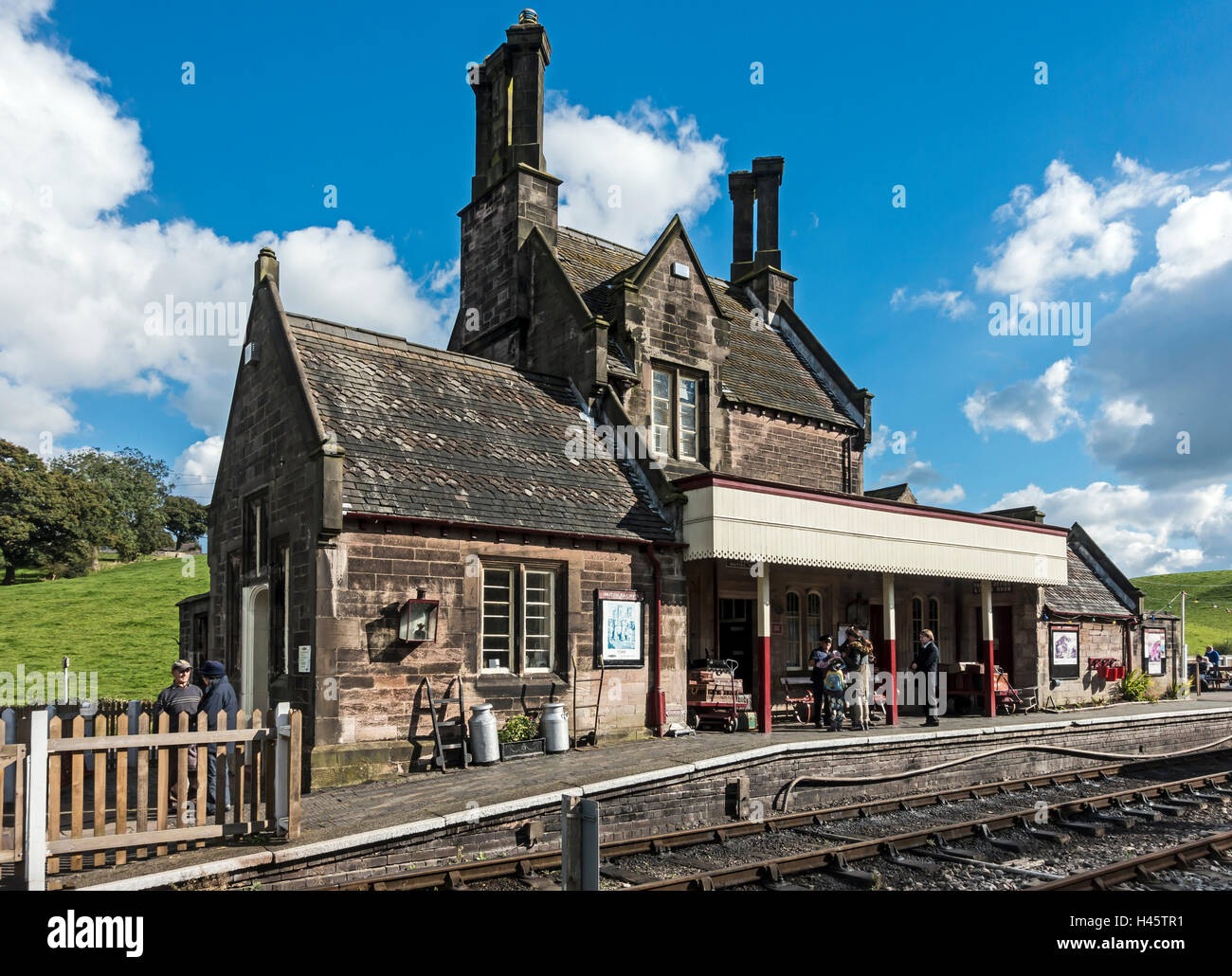 Railway Station in Cheddleton at the Churnet Valley Railway in Staffordshire England - Stock Image