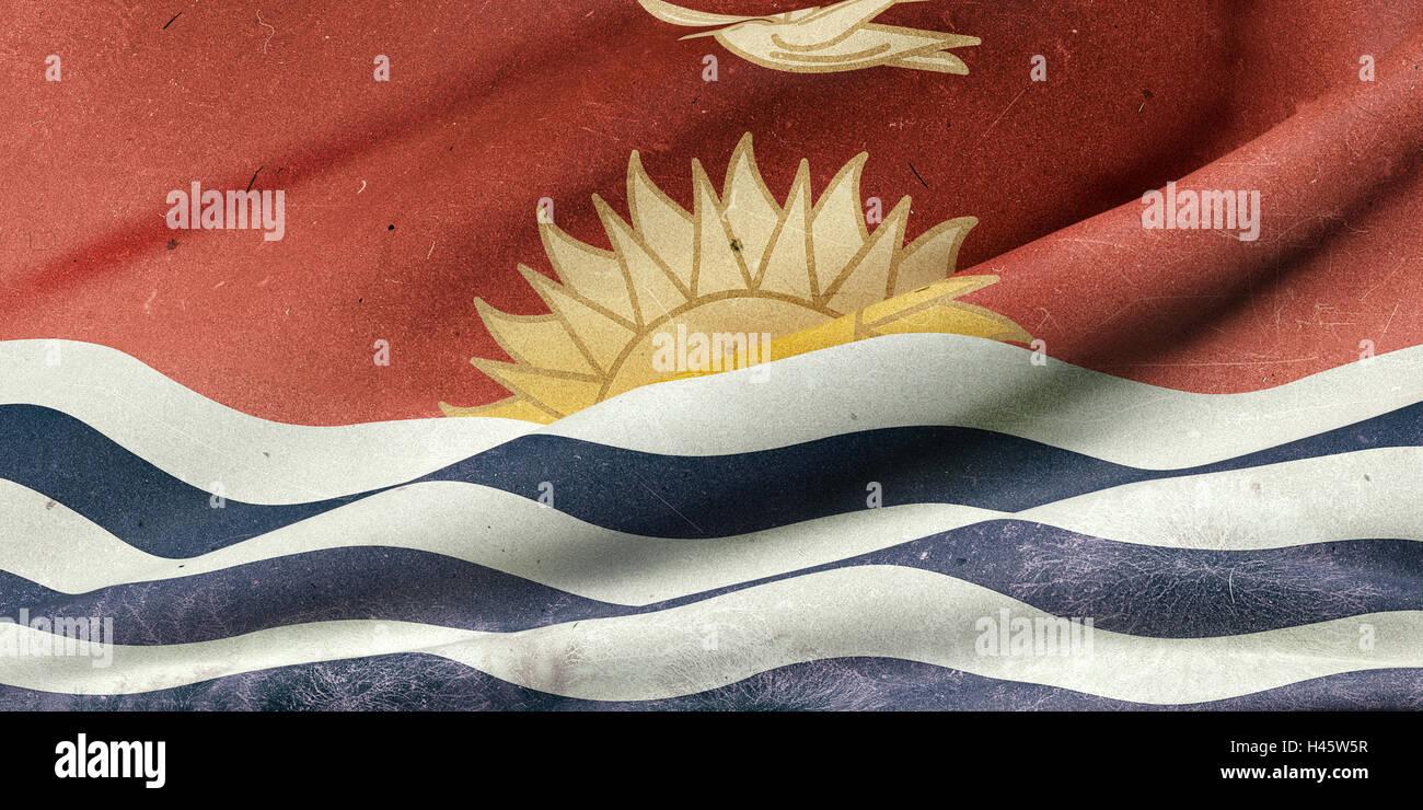 3d rendering of an old Republic of Kiribati flag waving - Stock Image