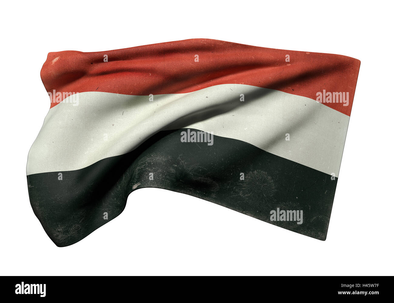 3d rendering of an old Republic of Yemen flag waving on white background - Stock Image