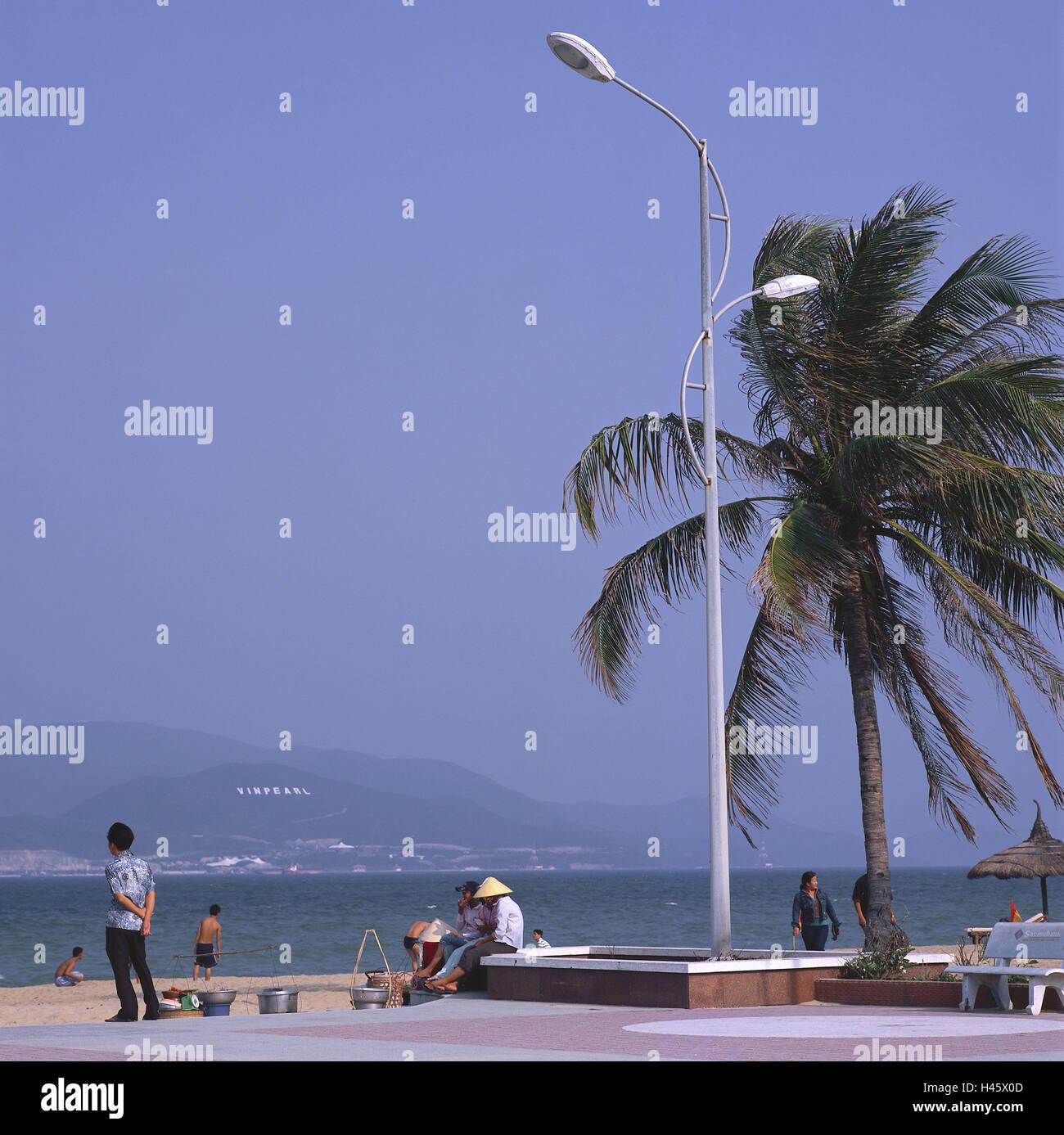 Vietnam, Nha Trang, beach, promenade, tourist, shop assistants, no model release, Asia, South-East Asia, town, person, Stock Photo