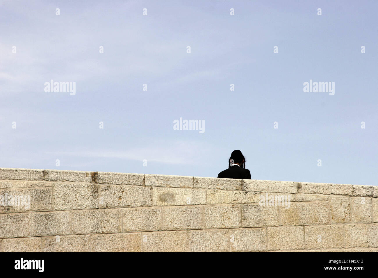 Israel, Jerusalem, Jew, back view, defensive wall, detail, no model release, capital, outside, religion, Jewish, - Stock Image