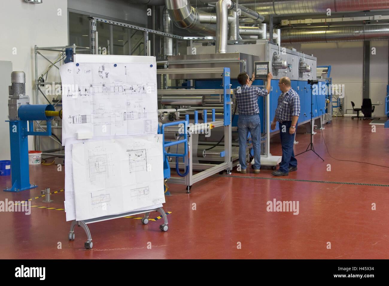 Chemicals companies, men, two, machine, controls, Germany, North Rhine-Westphalia, Marl, Evonik, company, nanotechnology, - Stock Image