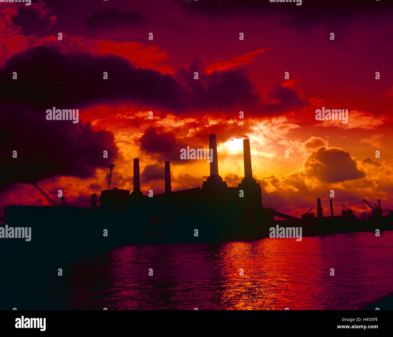 Sunset over a Powerplant - Stock Image