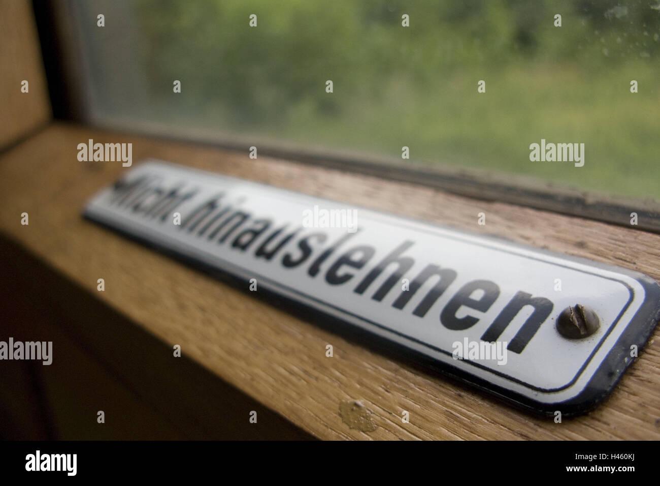 Nostalgia train, sign 'Nicht hinauslehnen' (Do not lean out), detail, - Stock Image