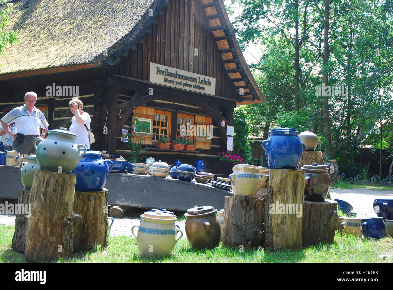 Germany, Brandenburg, Lusatia, Lübbenau, Lehde, Spreewald, open land museum, pottery, visitor, no model release, - Stock Image