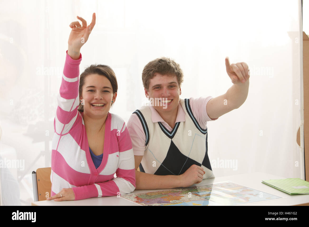Schoolboys, classrooms, actively, announce, - Stock Image