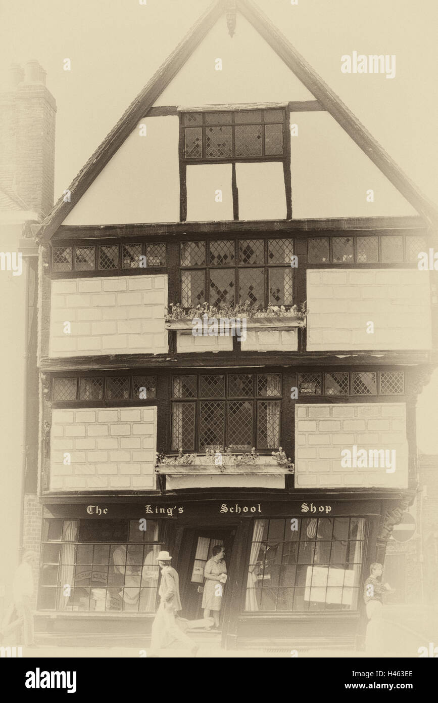 The old Kings School shop also known as Sir John Boy's House. Canterbury. Kent. England. UK - Stock Image
