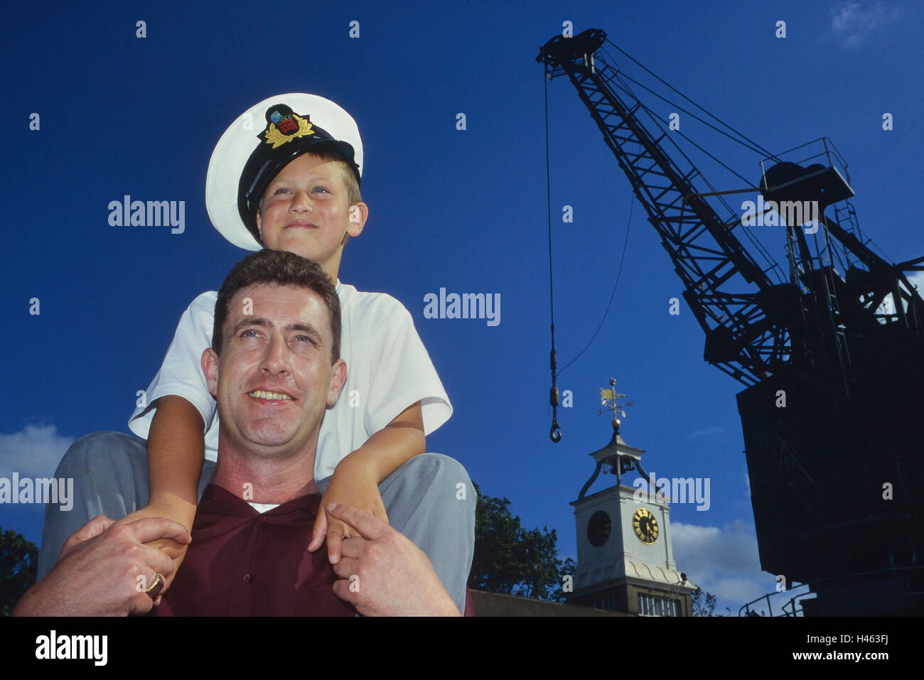 Father and son at the Chatham historic dockyard maritime museum. Kent. England. UK - Stock Image