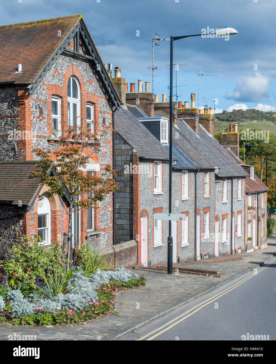 Row of terraced houses on a hill in Lewes, East Sussex, England, UK. - Stock Image