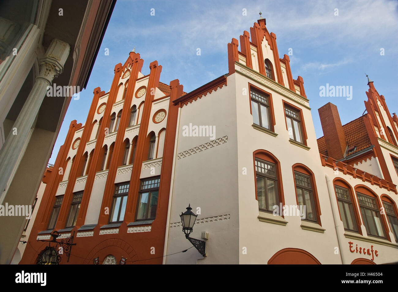 Germany, Mecklenburg-Western Pomerania, Wismar (city), Altstadt, Eiscafe, facade, detail, Stock Photo