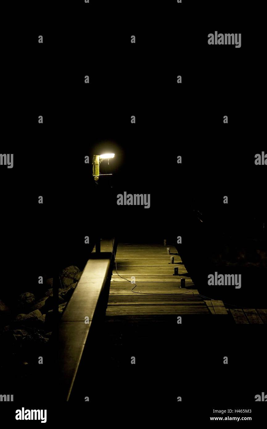 Bridge, light, night, - Stock Image
