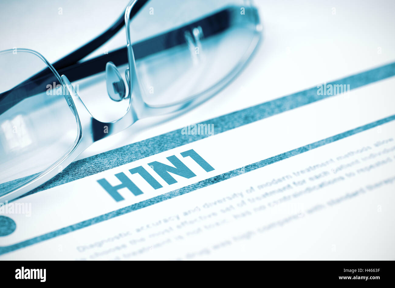 Diagnosis - H1N1. Medicine Concept. 3D Illustration. - Stock Image