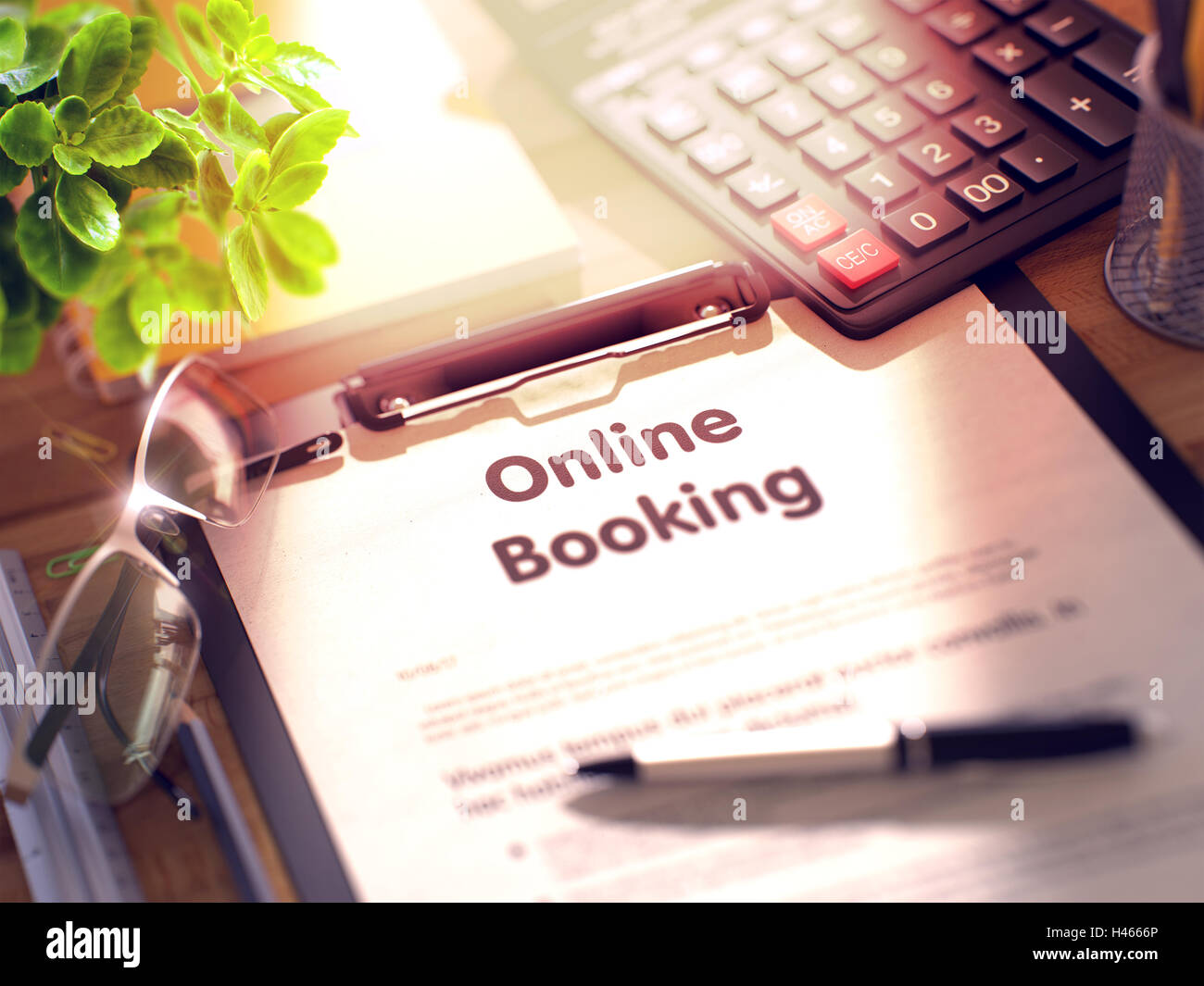 Online Booking on Clipboard. 3D. - Stock Image