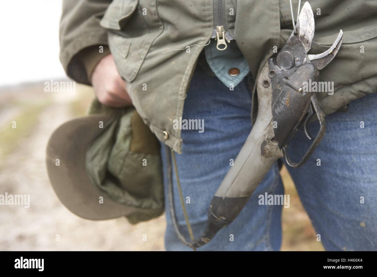 Man, detail, electric scissors, Sancerre, France, scissors, electrically, winegrower, viticulturist, jacket, cap, Stock Photo