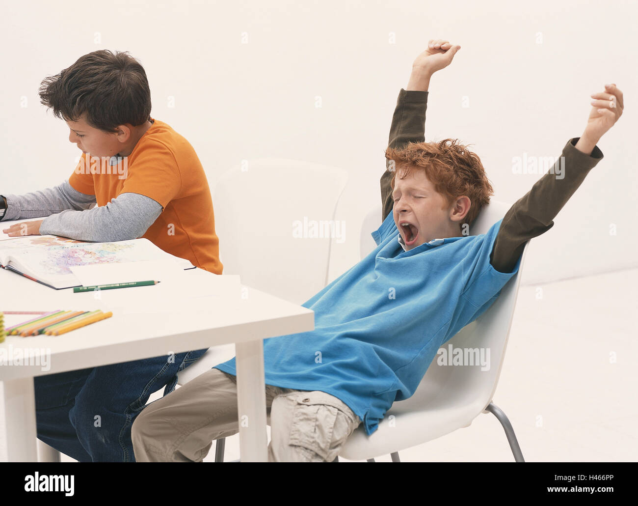 School, classroom, schoolboy, boy, yawn, stretch, school desk, person, school children, children, two, primary pupil, - Stock Image