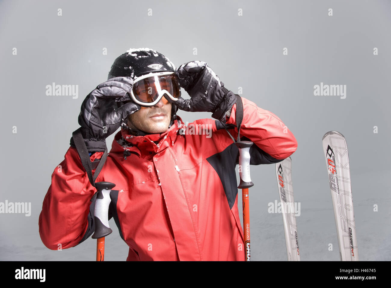 Man, skiwear, portrait, - Stock Image