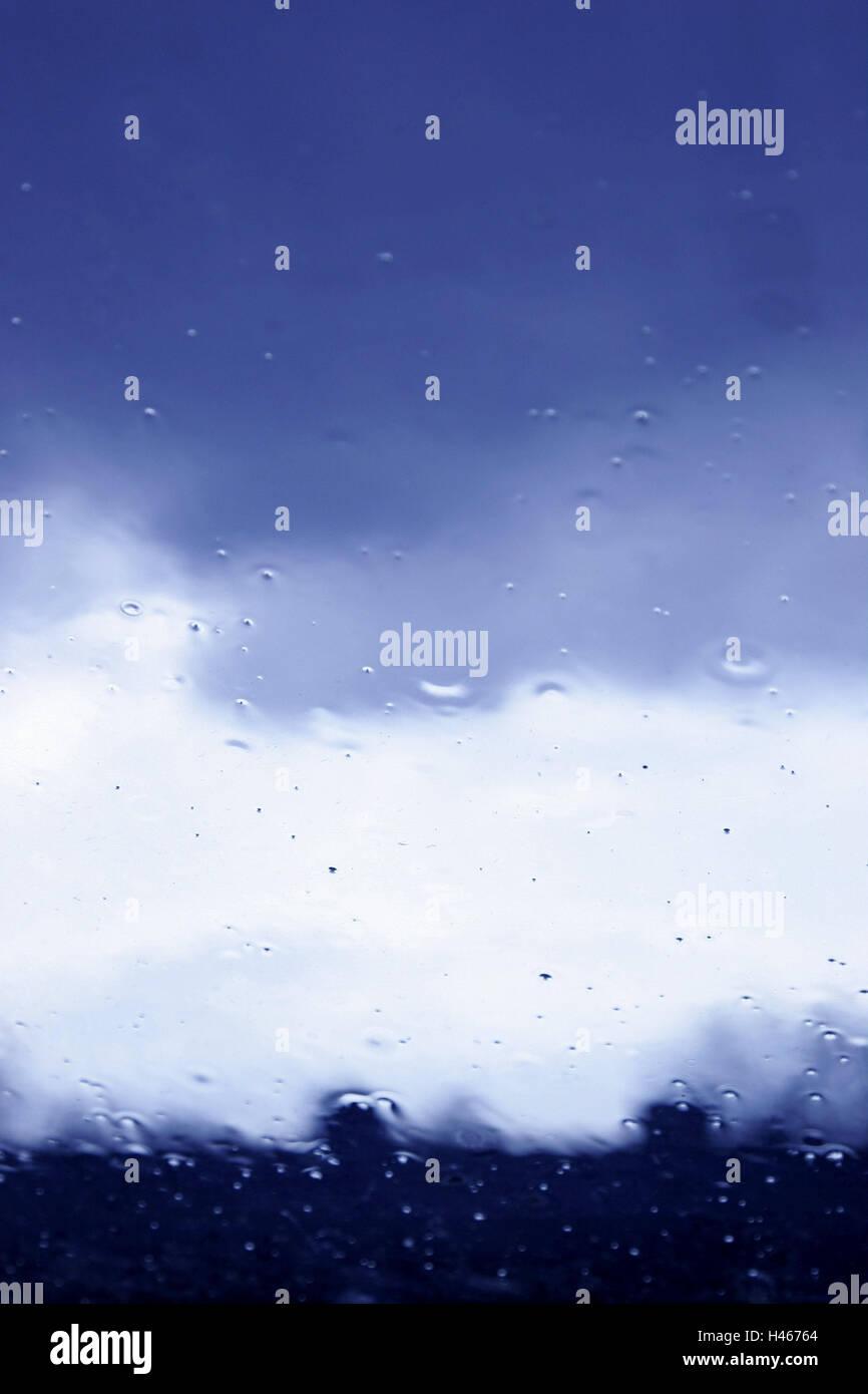 Window, view, rain weather, dreary, gloomily, grey, discouraging, window pane, windowpane, room, room, inside, closed, - Stock Image