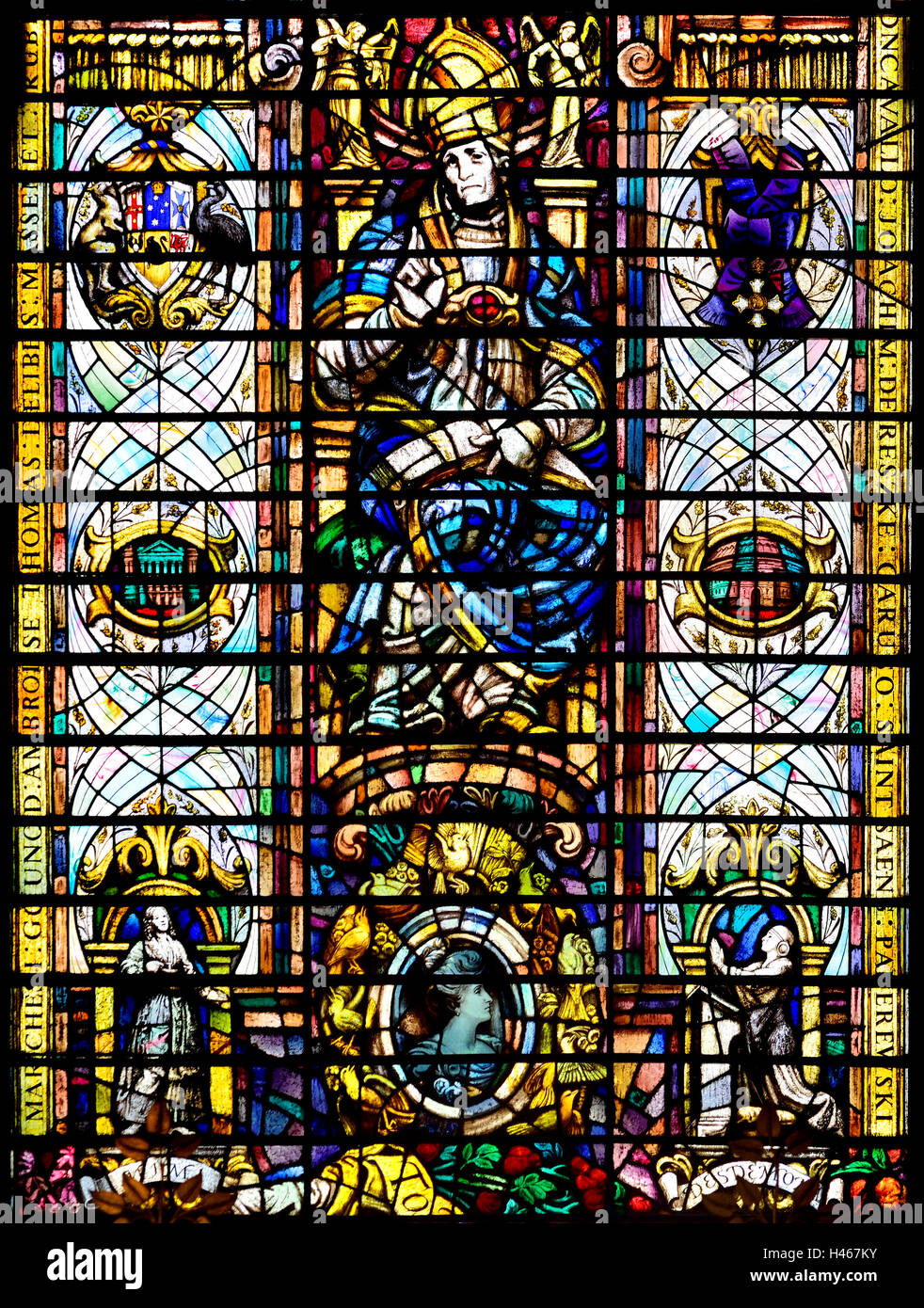 London England, UK. Church of the Holy Sepulchre / St Sepulchre Without Newgate. Stained Glass Window : St Wilfrid... - Stock Image