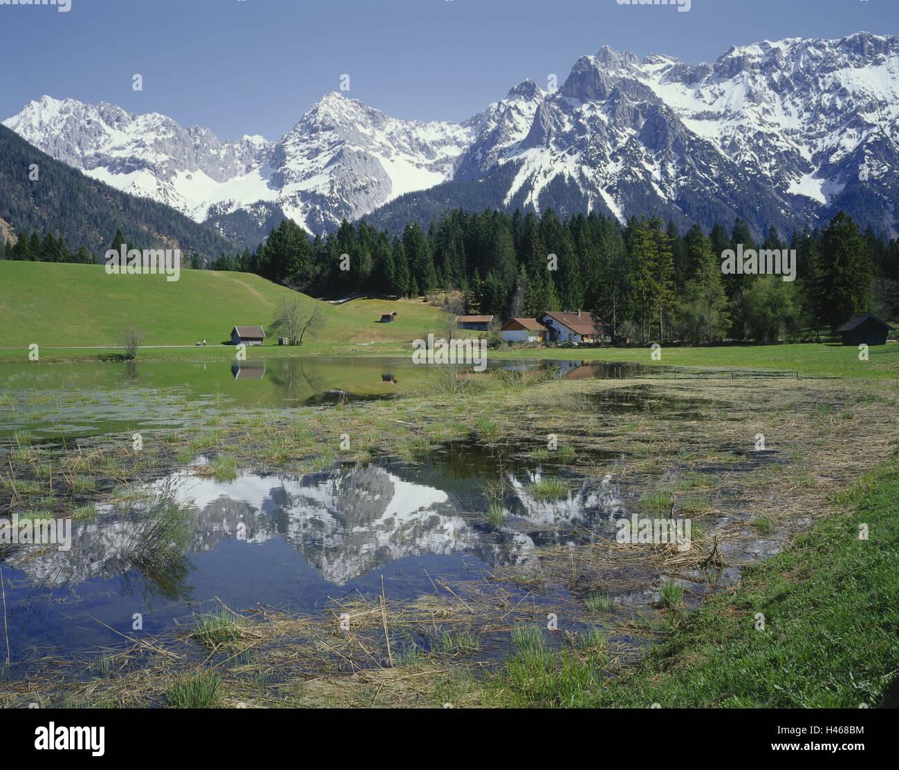 Germany, Bavaria, Werdenfels (region), Schmalensee, Looking Karwendel, reflection, water surface, Europe, Upper - Stock Image