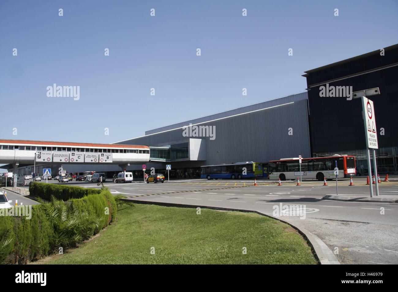 Spain, Catalonia, Barcelona, airport, terminal, access road, street, Europe, destination, airport terminal, building, - Stock Image