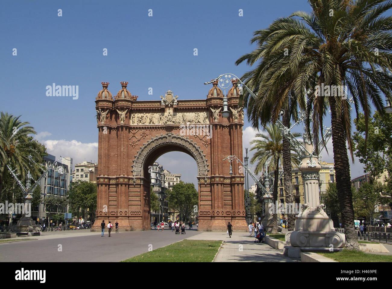 Spain, Catalonia, Barcelona, Passeig Lluis Companys, Arc de Triomf, - Stock Image