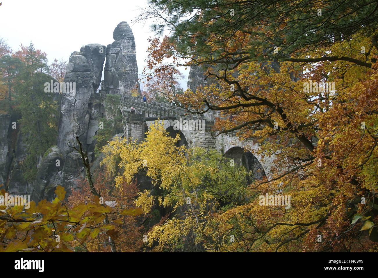 Germany, Saxony, Elbsandsteingebirge, bastion, bastion bridge, Stock Photo