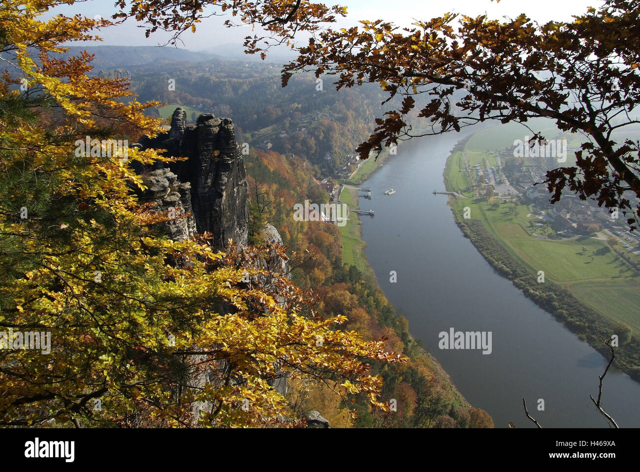Germany, Saxony, Elbsandsteingebirge, bastion, river Elbe, Rathen, - Stock Image