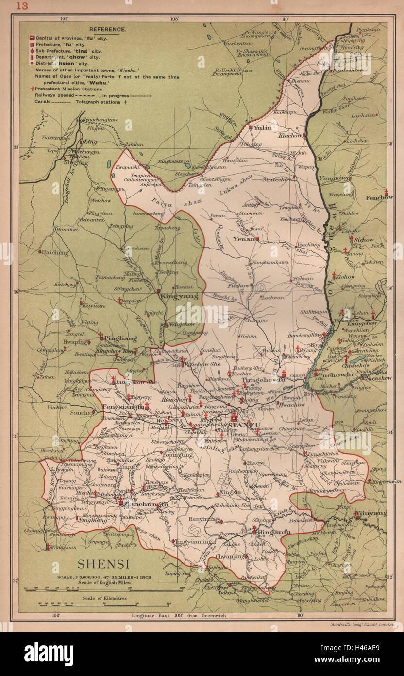 Shensi shaanxi china province map sianfu xian stanford 1908 shensi shaanxi china province map sianfu xian stanford 1908 old gumiabroncs Images