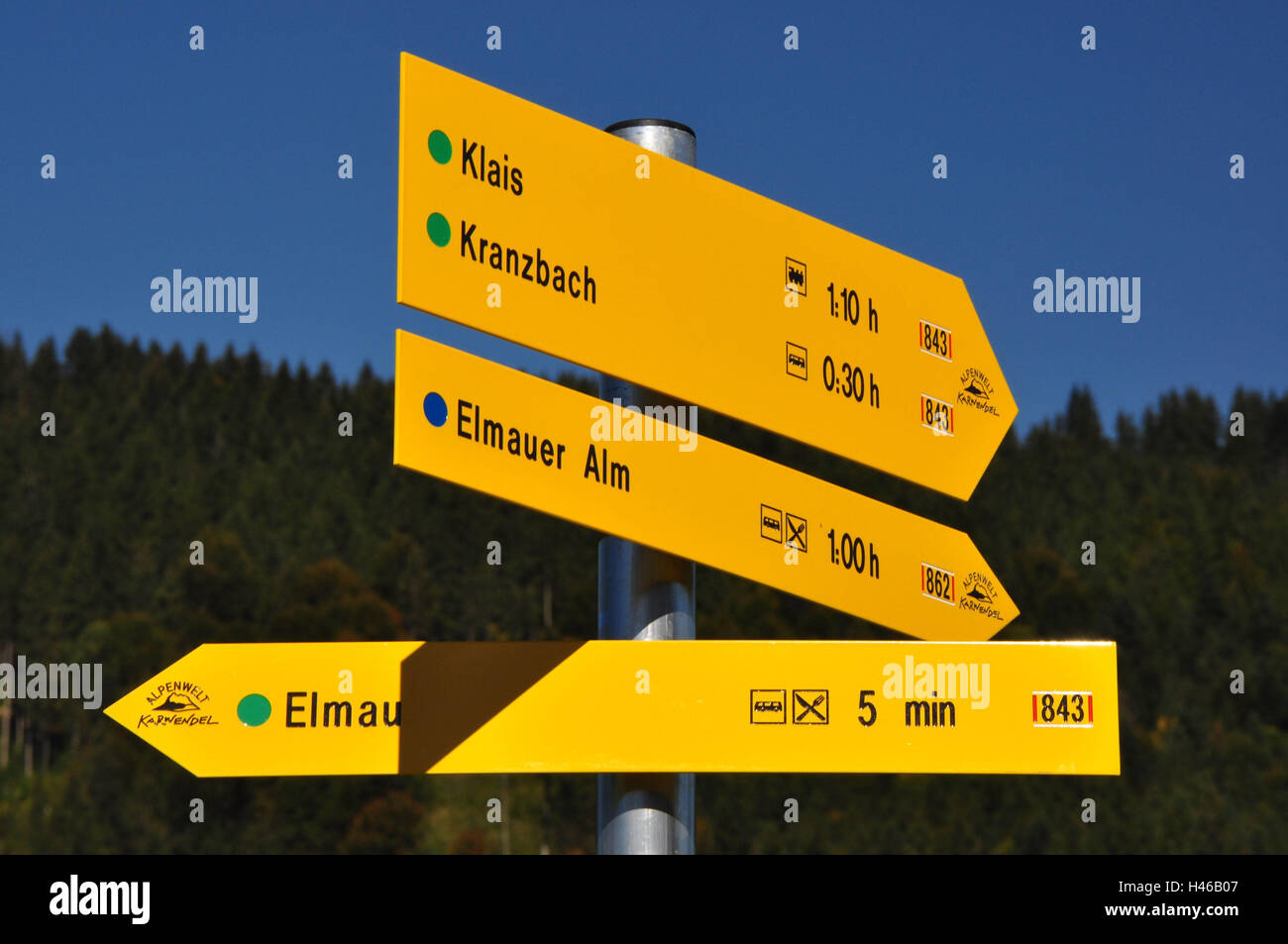 Germany, Bavaria, Isar valley, signpost, footpaths, - Stock Image