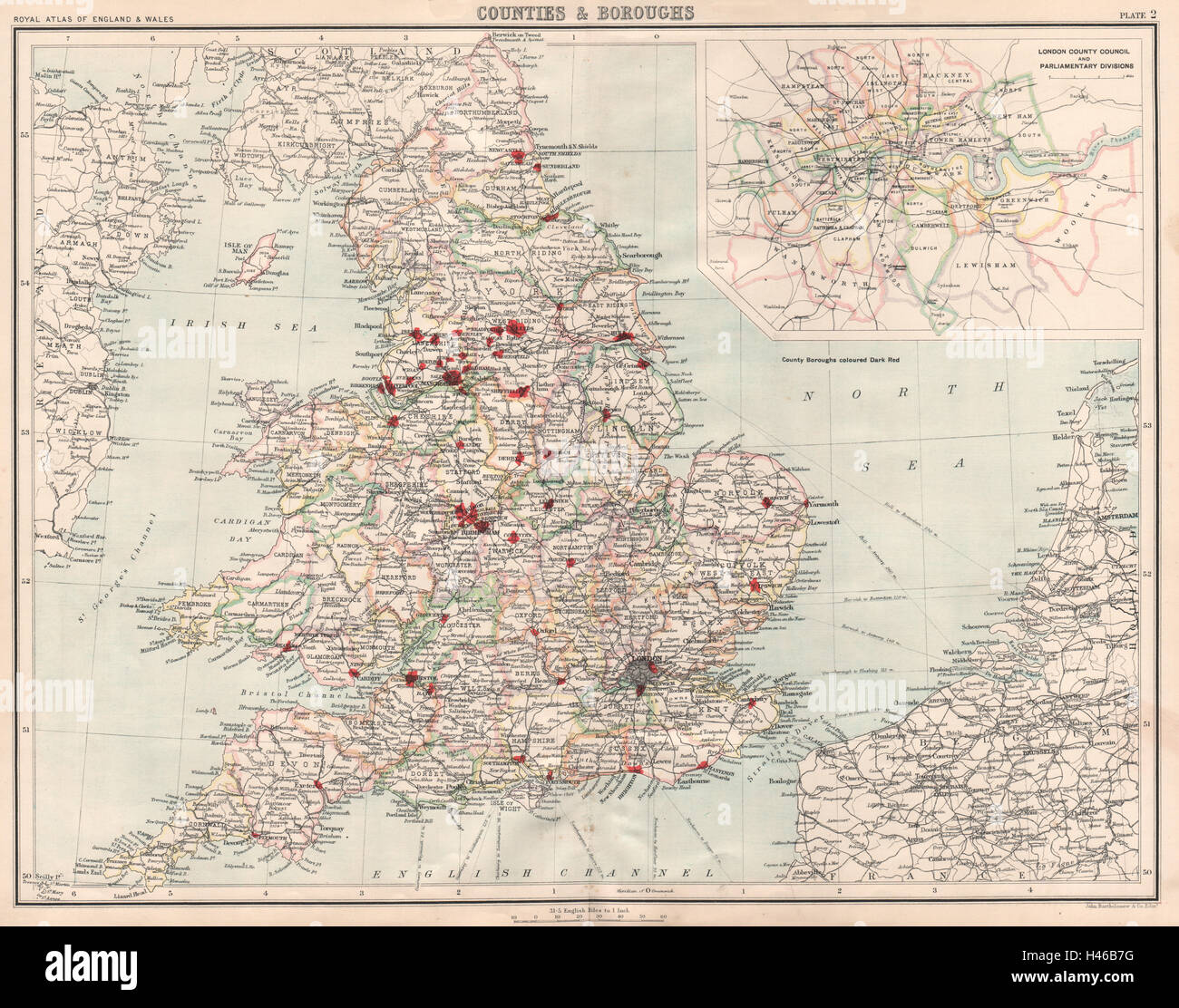 ENGLAND & WALES Counties Boroughs. London CC/Parliamentary Divisions  1898 map Stock Photo