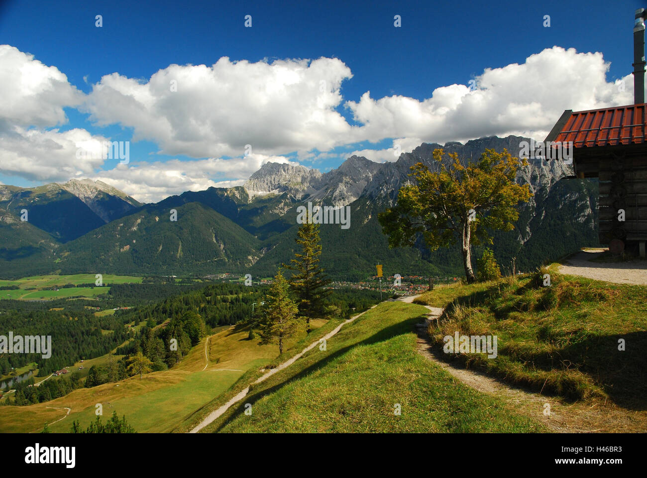 Germany, Bavaria, Mittenwald, Kranzberg, footpaths, - Stock Image