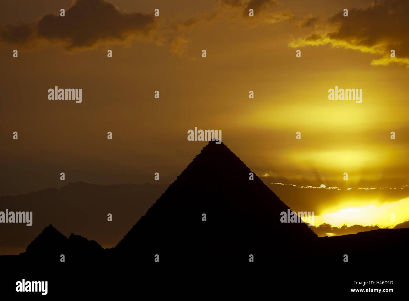 Egypt, Cairo, Gizeh, sundown, pyramids Gizeh, - Stock Image