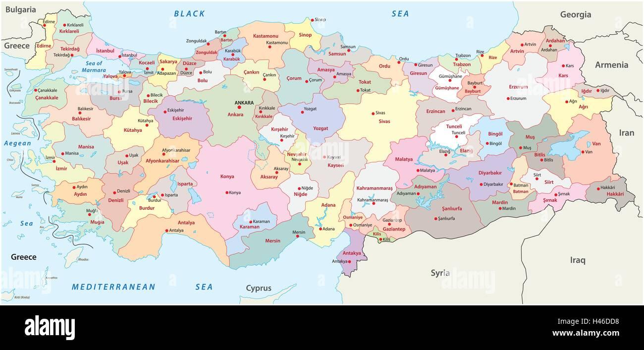turkey administrative map Stock Vector Art Illustration Vector