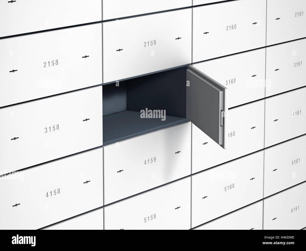 Safe-deposit boxes, numbered steel doors, one door open, empty case, - Stock Image