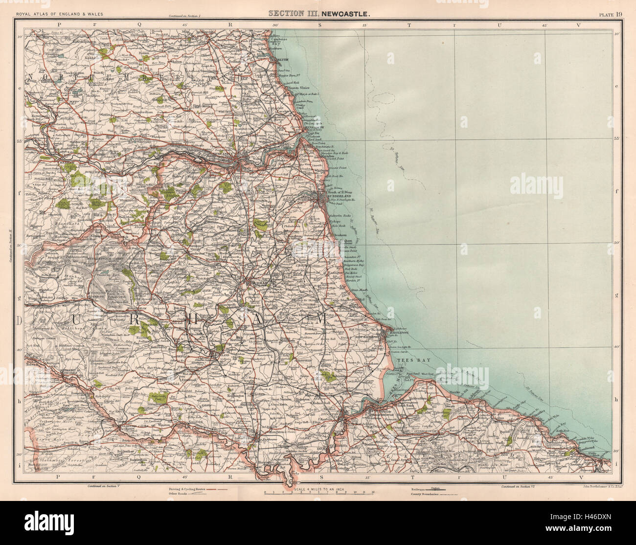 COUNTY DURHAM. Tyneside Teeside North Pennines Newcastle Middlesbrough 1898 map - Stock Image